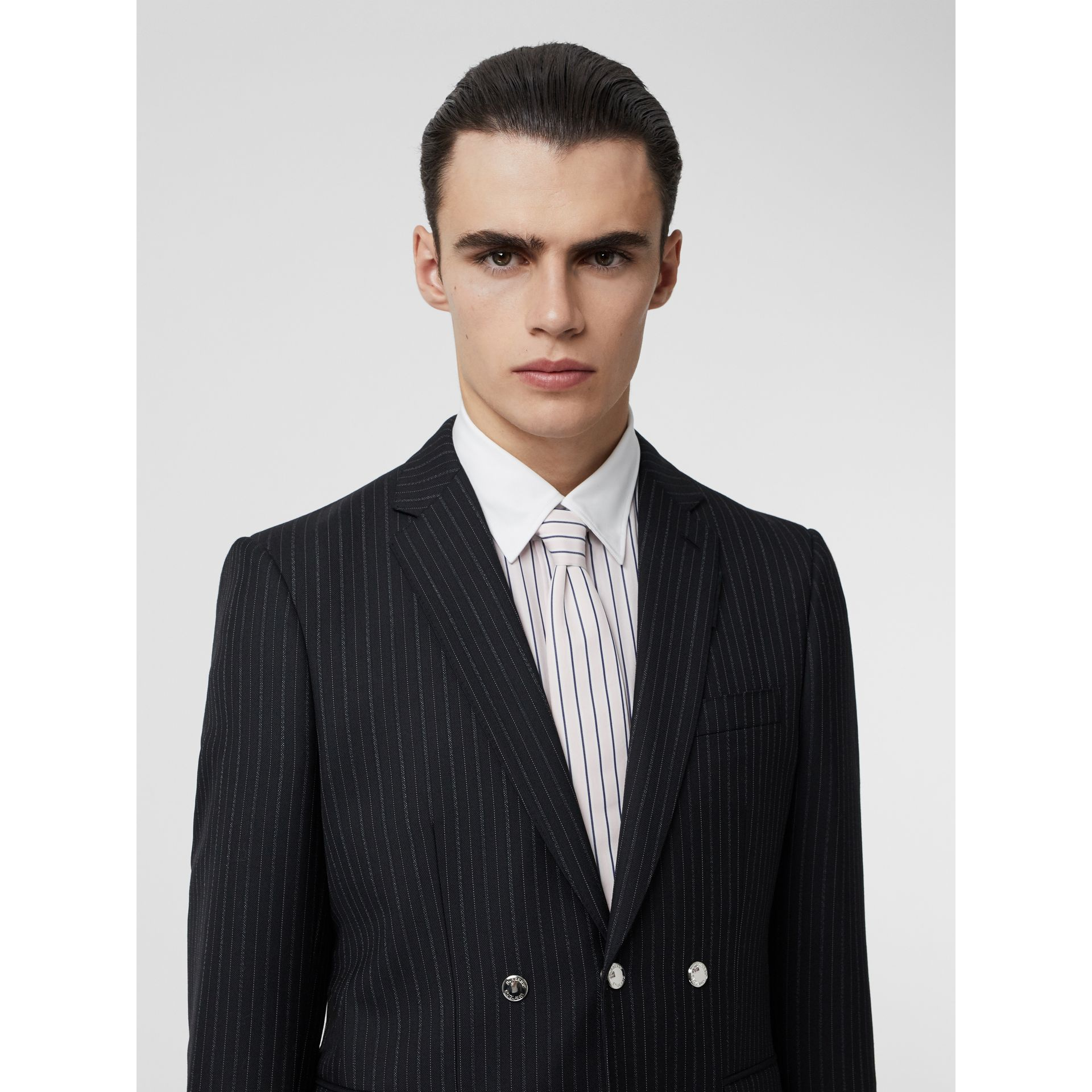 English Fit Triple Stud Pinstriped Wool Tailored Jacket in Black - Men | Burberry - gallery image 5