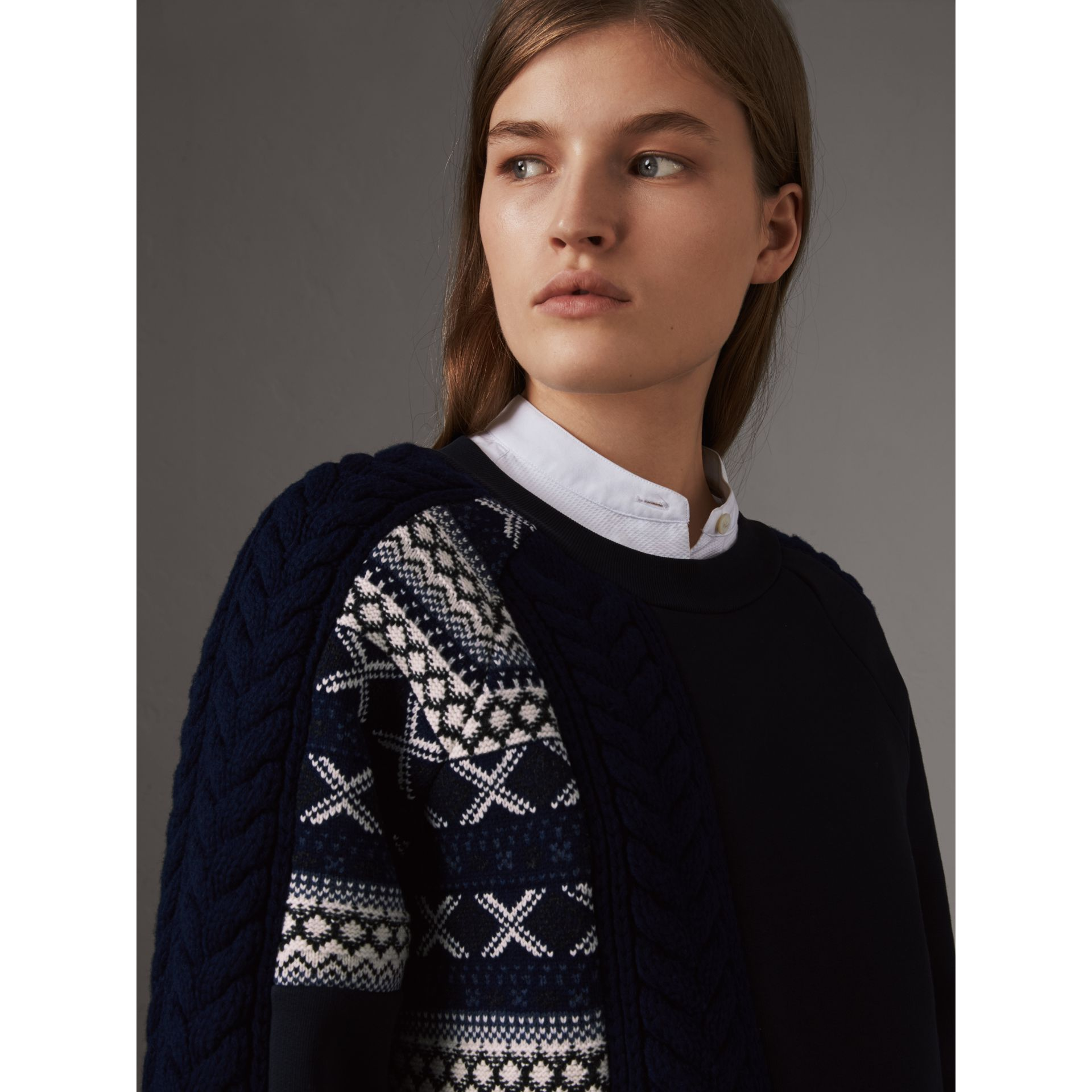 Cable and Fair Isle Knit Detail Cotton Sweatshirt in Navy - Women | Burberry - gallery image 1