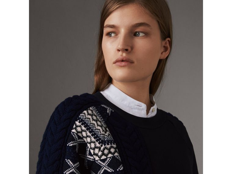 Cable and Fair Isle Knit Detail Cotton Sweatshirt in Navy - Women | Burberry - cell image 1