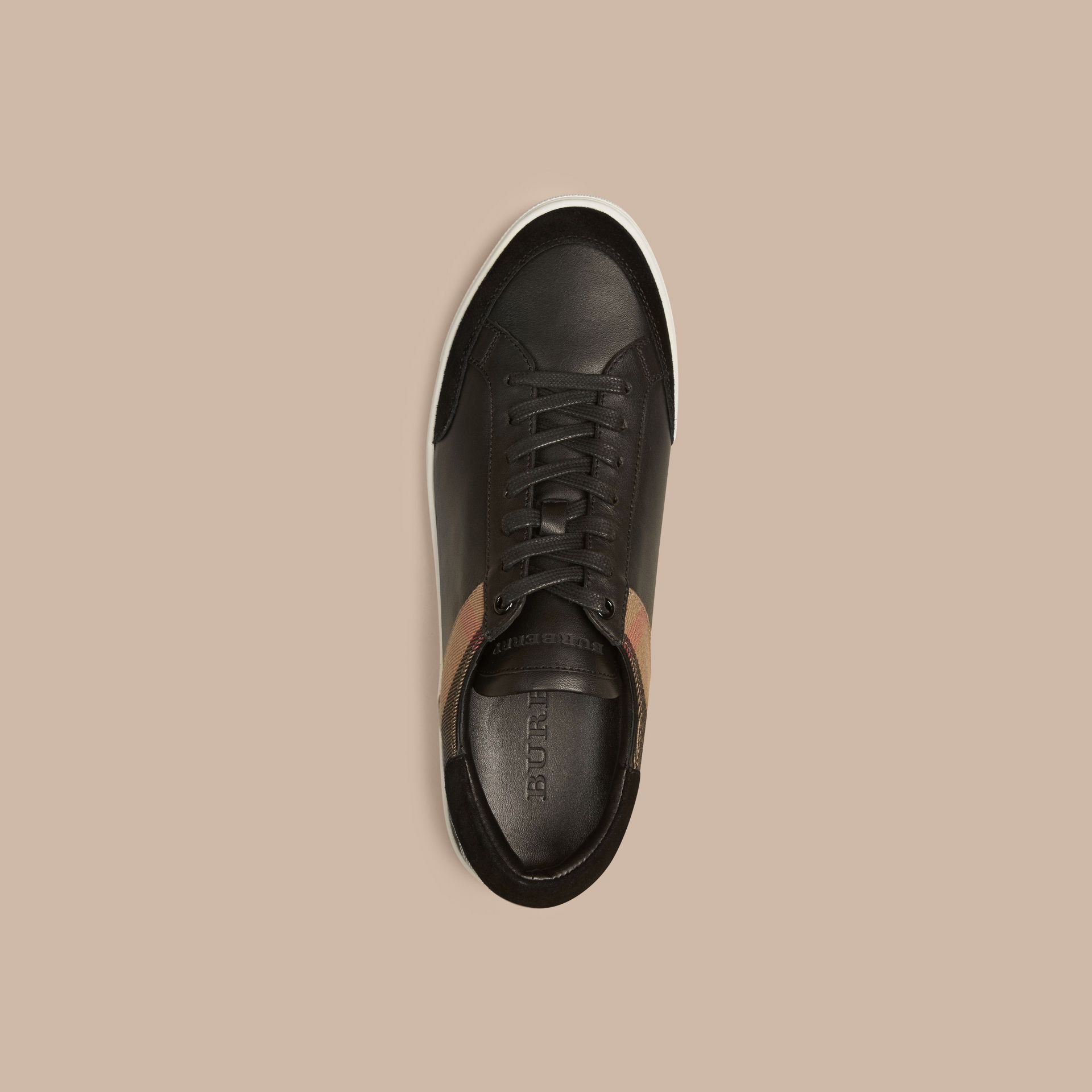 Leather and House Check Trainers Black - gallery image 3