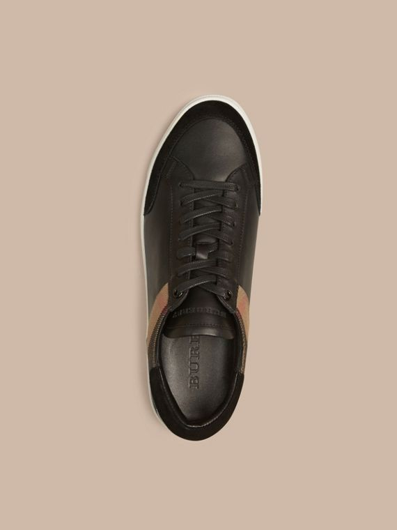 Leather and House Check Trainers Black - cell image 2