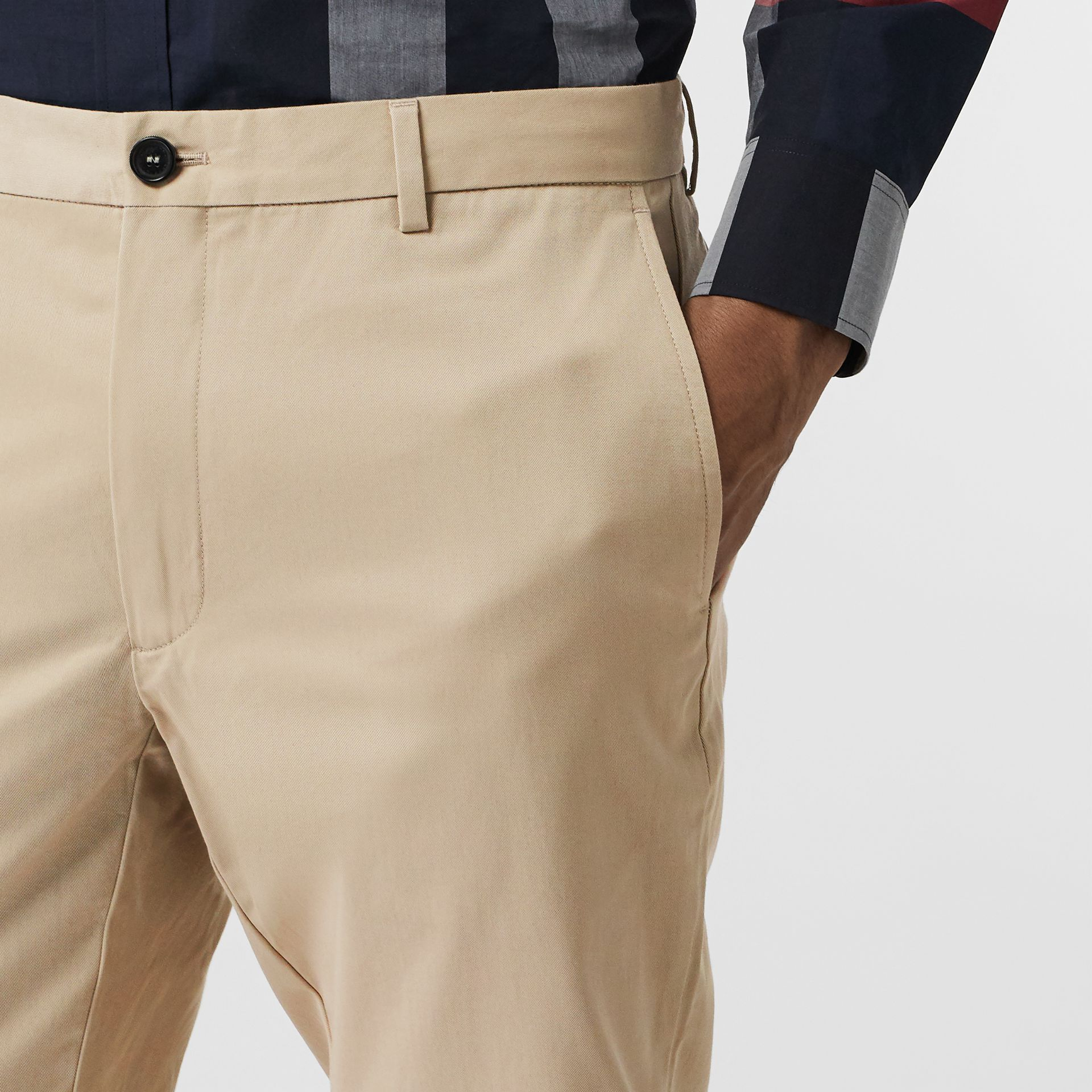Slim Fit Cotton Chinos in Stone - Men | Burberry - gallery image 1