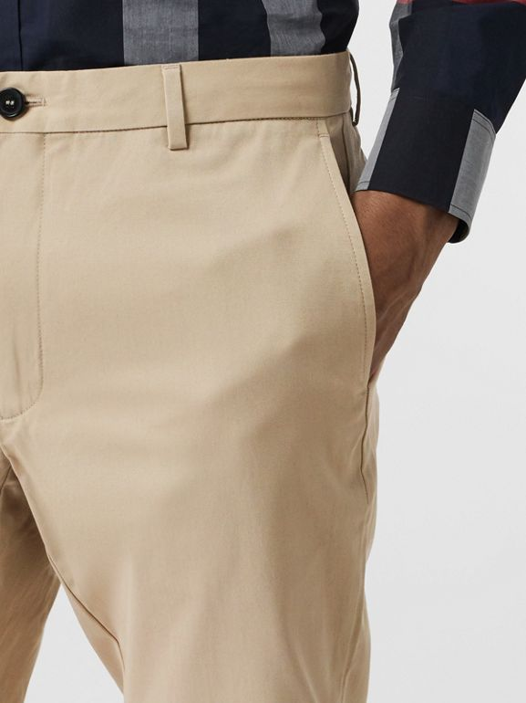 Slim Fit Cotton Chinos in Stone - Men | Burberry - cell image 1