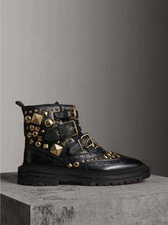 Studded Leather Brogue Ankle Boots - Women | Burberry