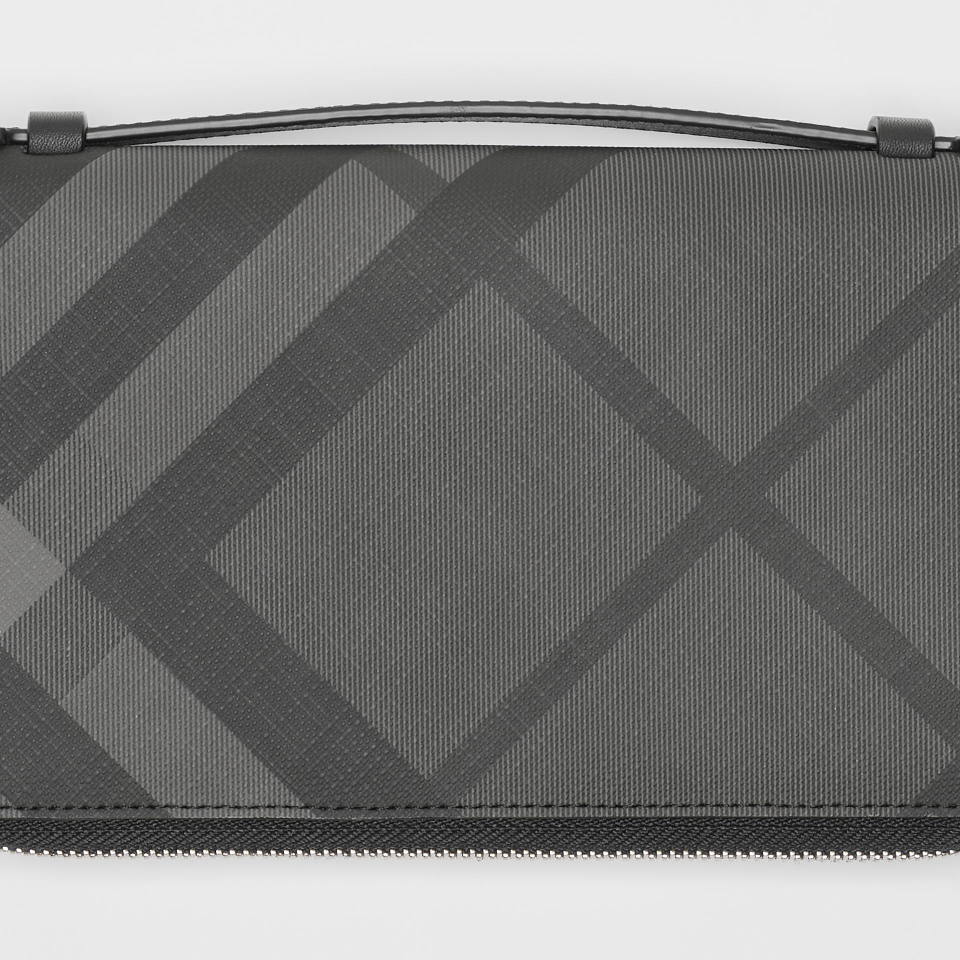 London Check and Leather Travel Wallet in Charcoal/black - Men | Burberry Canada - gallery image 1