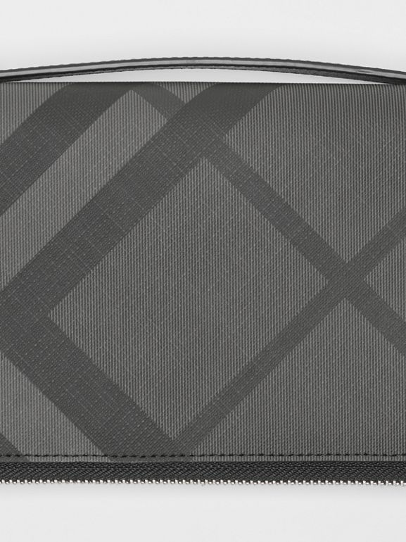London Check and Leather Travel Wallet in Charcoal/black - Men | Burberry Canada - cell image 1