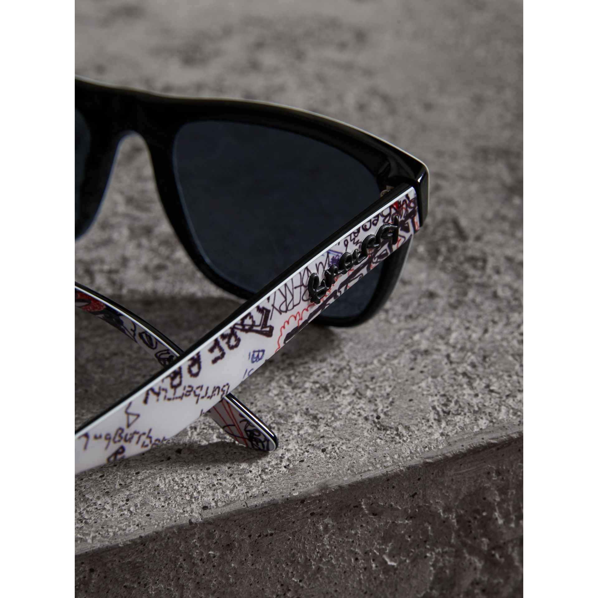 Doodle Square Frame Sunglasses in White - Men | Burberry United States - gallery image 1