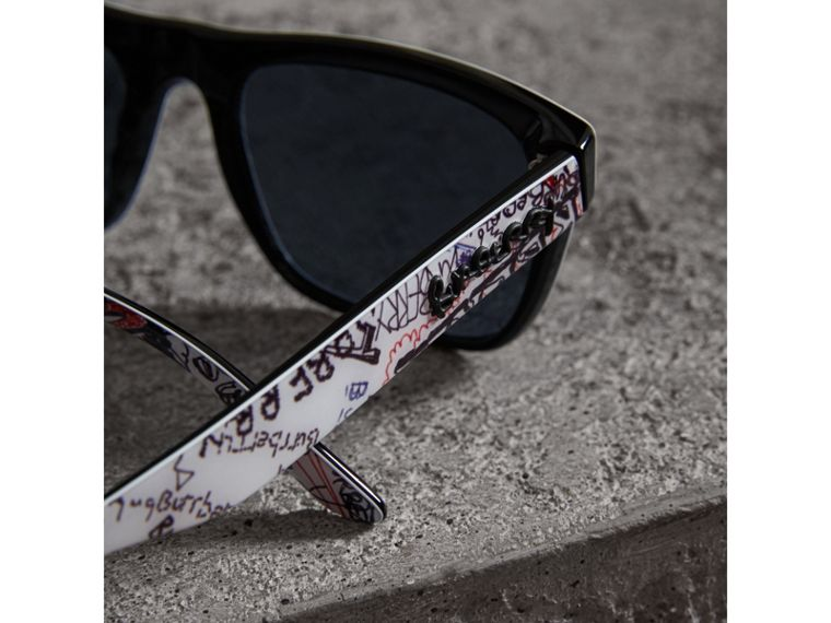 Doodle Square Frame Sunglasses in White - Men | Burberry - cell image 1