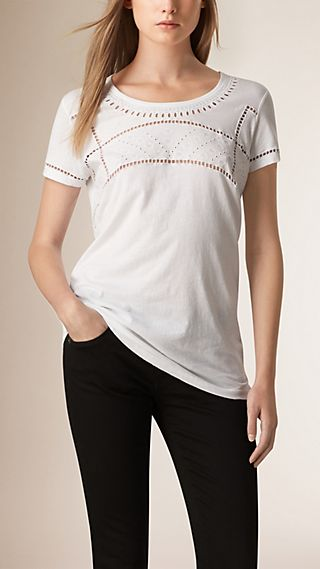 Broderie Anglaise Cotton T-shirt