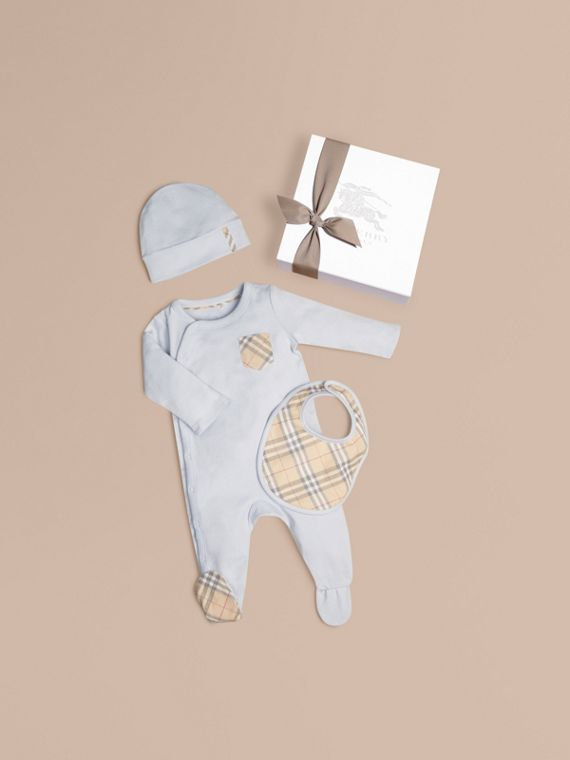 Check Cotton Three-piece Baby Gift Set in Ice Blue