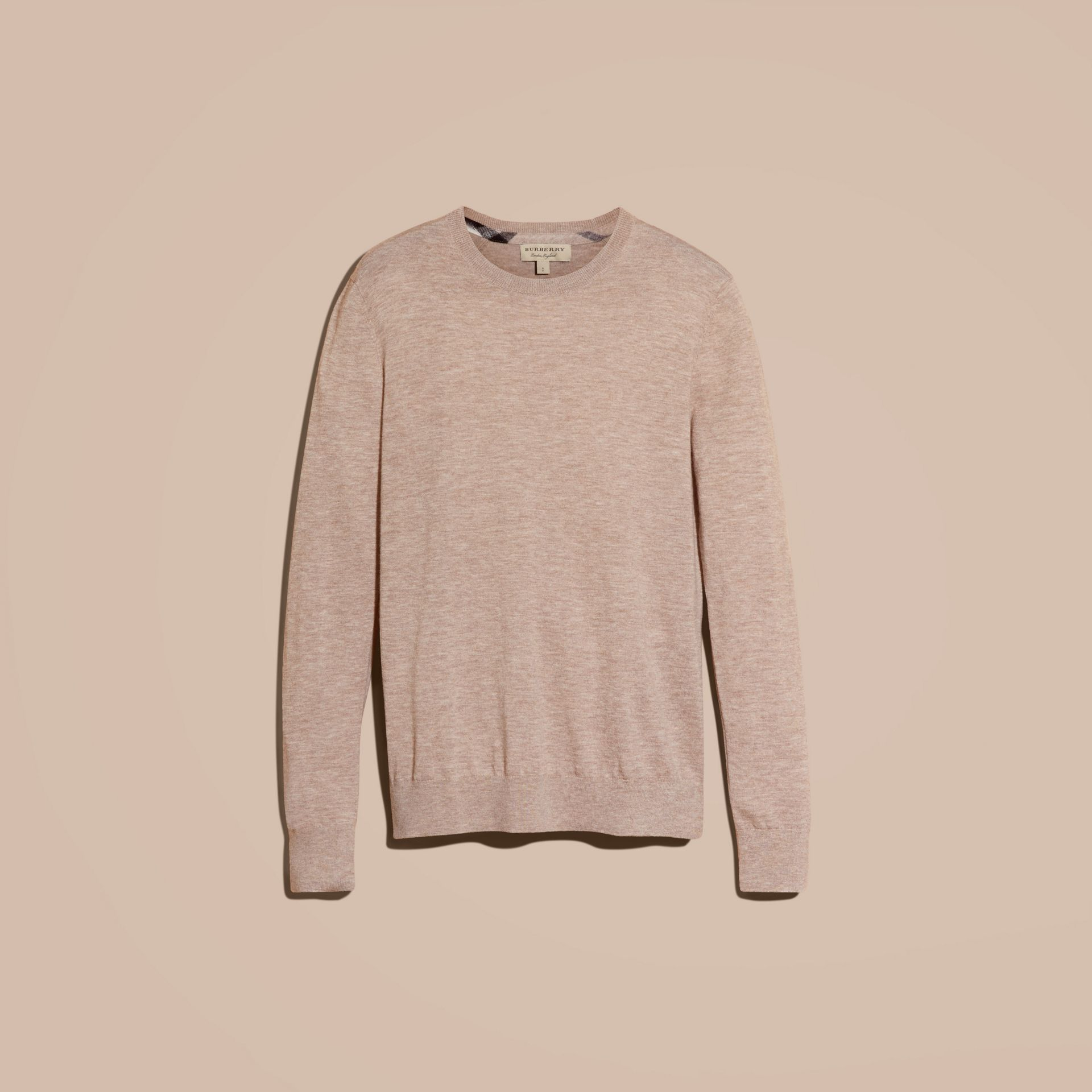 Lightweight Crew Neck Cashmere Sweater with Check Trim in Camel Melange - gallery image 4