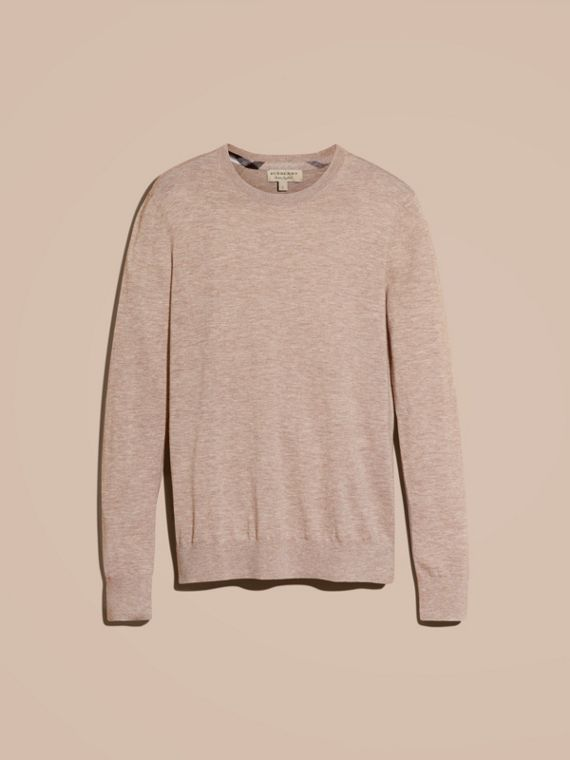 Lightweight Crew Neck Cashmere Sweater with Check Trim in Camel Melange - cell image 3