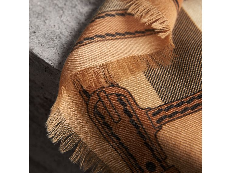 Contrast Border Horseferry Check Cashmere Scarf in Camel - Women | Burberry Canada - cell image 1