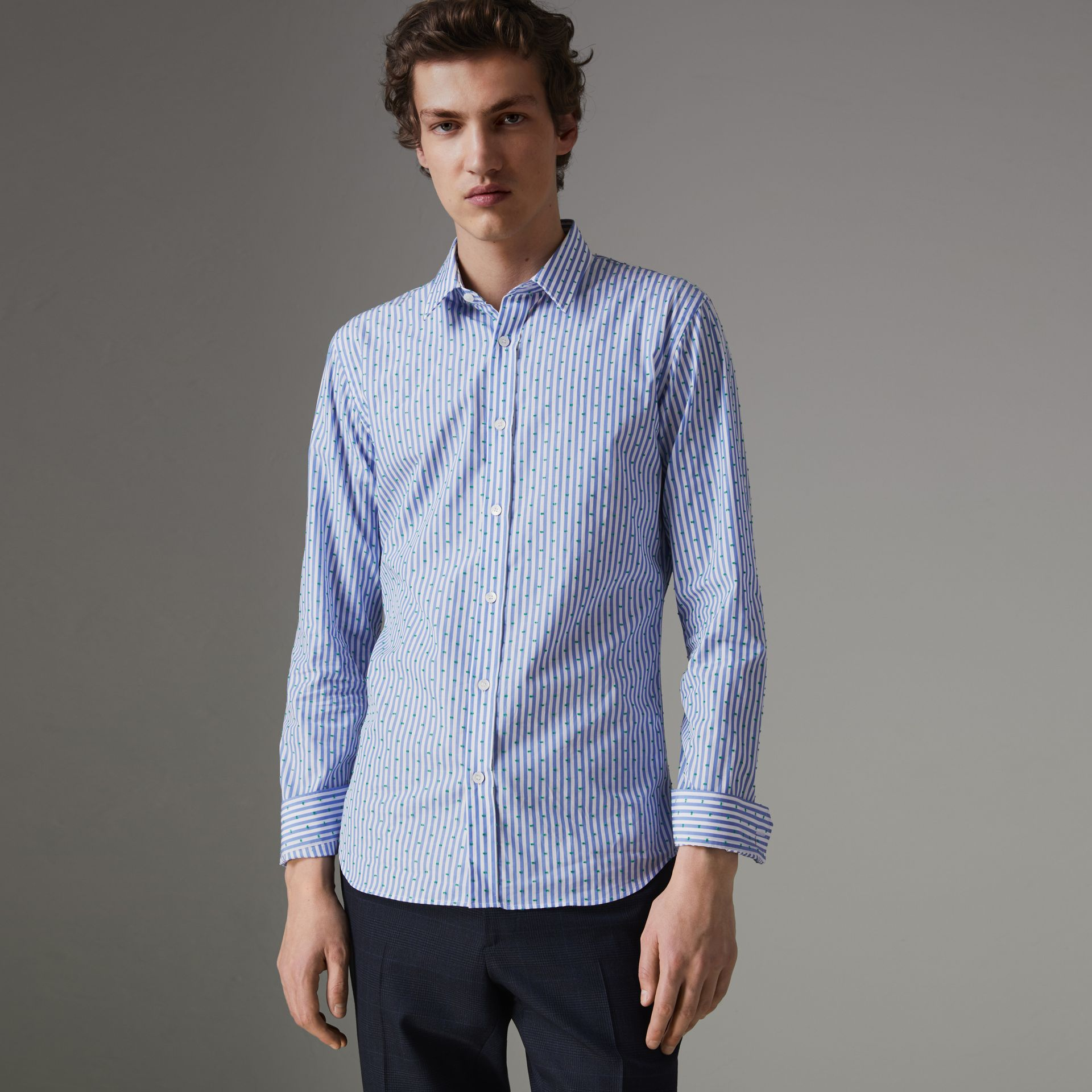 Slim Fit Fil Coupé Striped Cotton Shirt in Mid Blue - Men | Burberry - gallery image 0