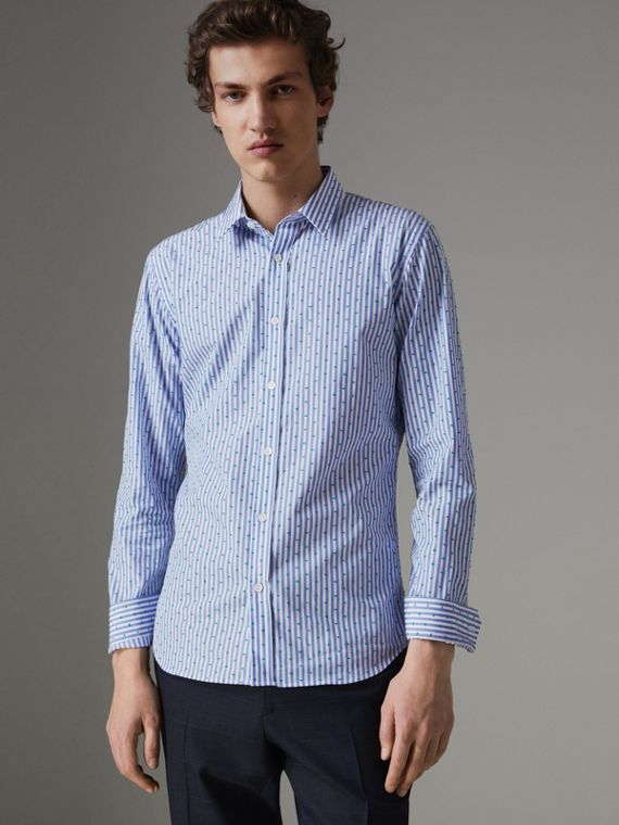 Slim Fit Fil Coupé Striped Cotton Shirt in Mid Blue