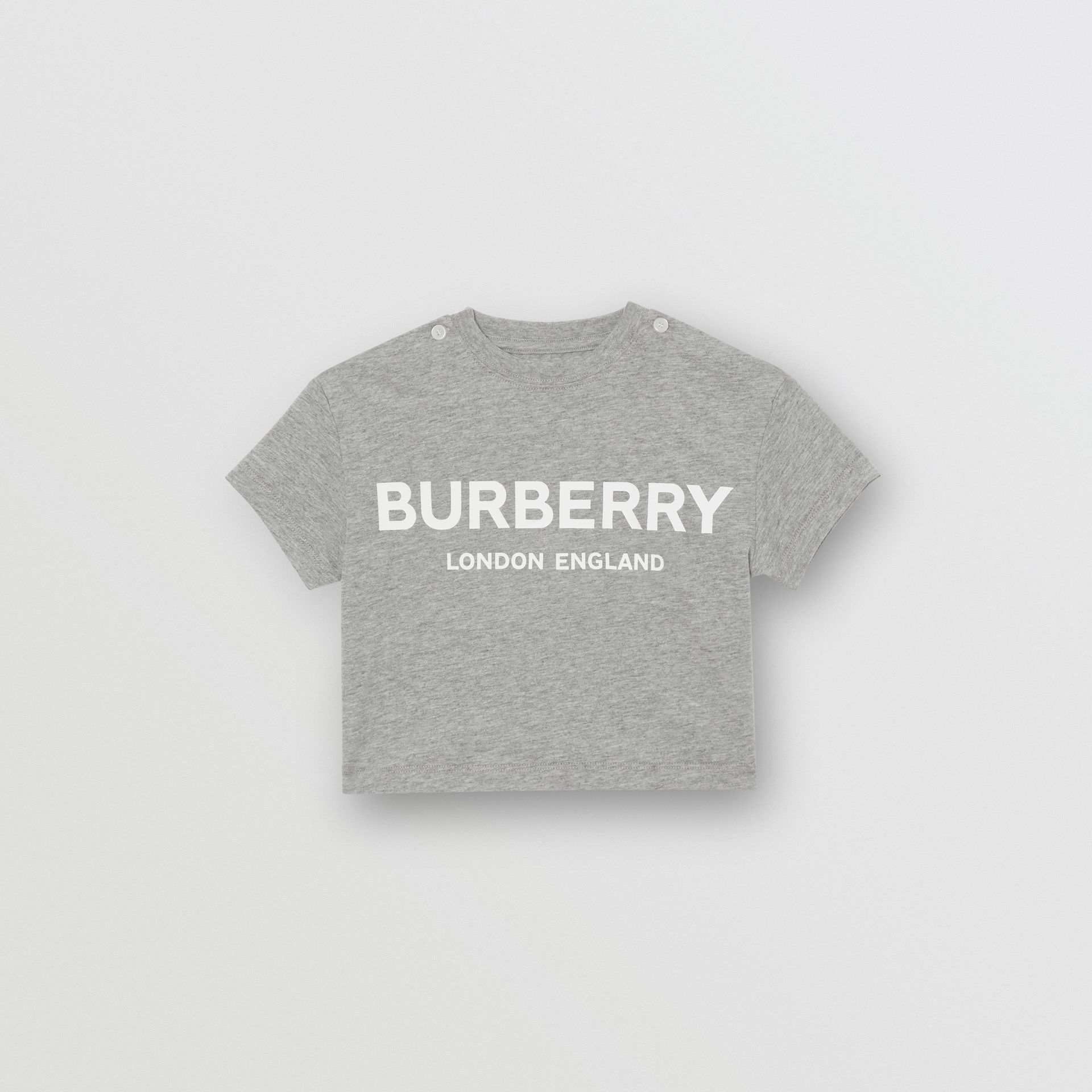 Logo Print Cotton T-shirt in Grey Melange - Children | Burberry Canada - gallery image 0