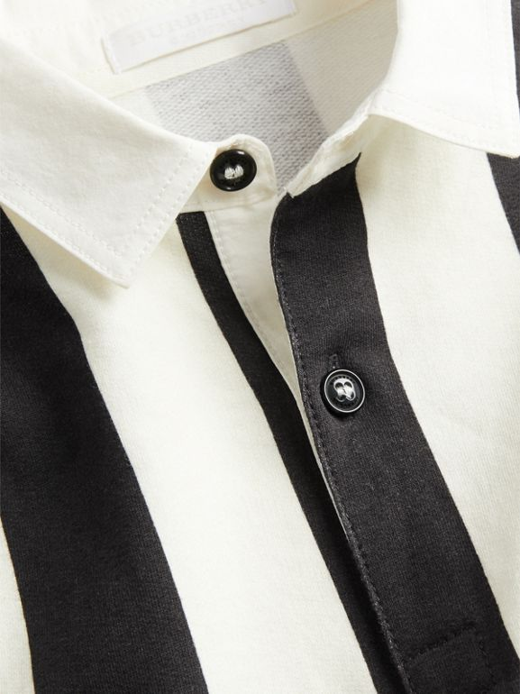 Striped Cotton Jersey Rugby Shirt in Black | Burberry Australia - cell image 1