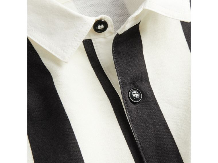 Striped Cotton Jersey Rugby Shirt in Black - Boy | Burberry - cell image 1