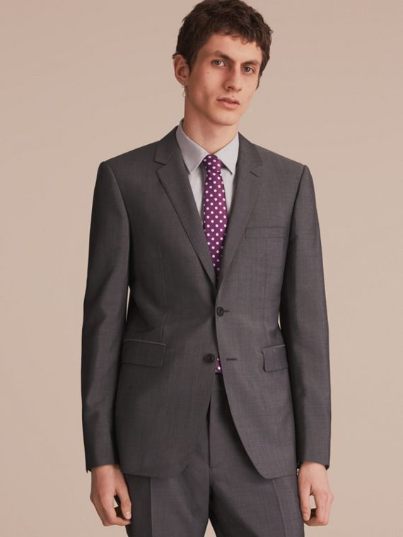 Modern Cut Polka-dot Silk Jacquard Tie in Purple Black - Men | Burberry - cell image 2