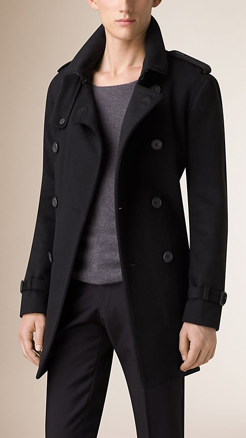 Black Mid-Length Virgin Wool Cashmere Trench Coat - Image 1