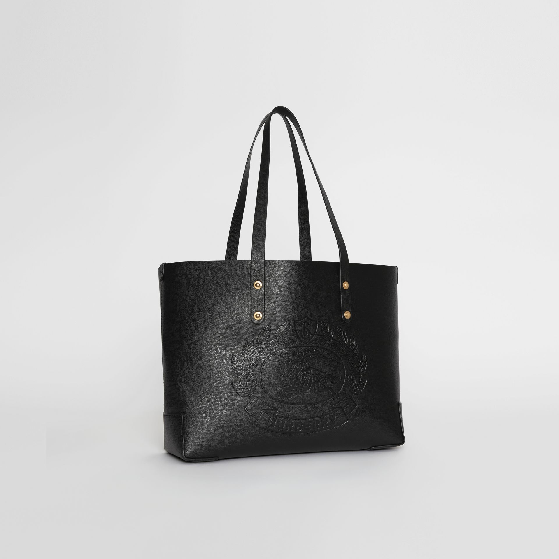 Small Embossed Crest Leather Tote in Black - Women | Burberry - gallery image 6
