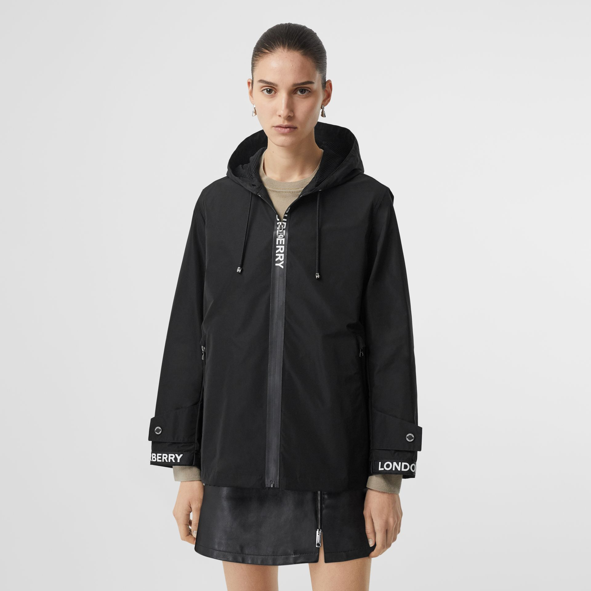 Logo Detail Shape-memory Taffeta Hooded Jacket in Black - Women | Burberry - gallery image 4
