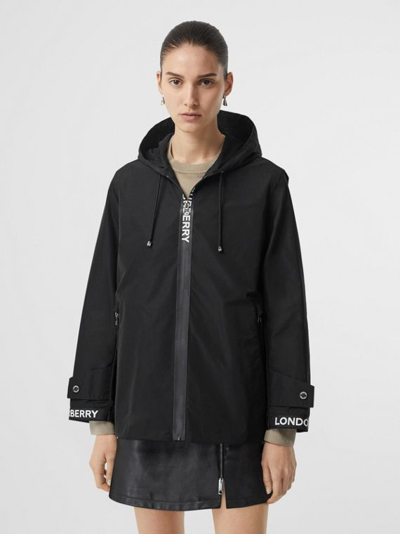 Logo Detail Shape-memory Taffeta Hooded Jacket in Black