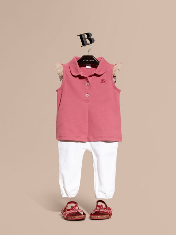 Stretch Cotton Polo Shirt with Check Sleeves Pink Azalea