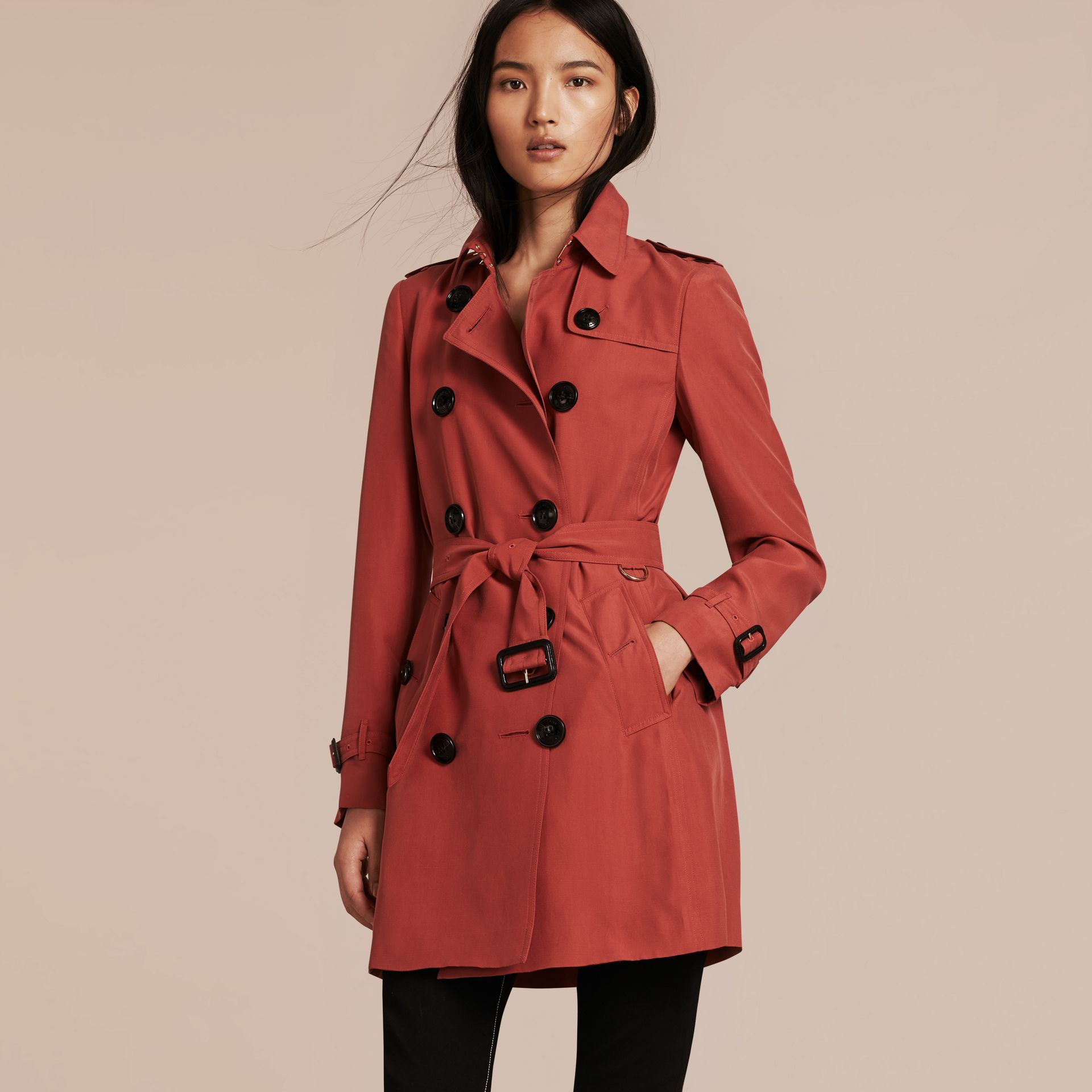Bright copper pink Silk Trench Coat - gallery image 6
