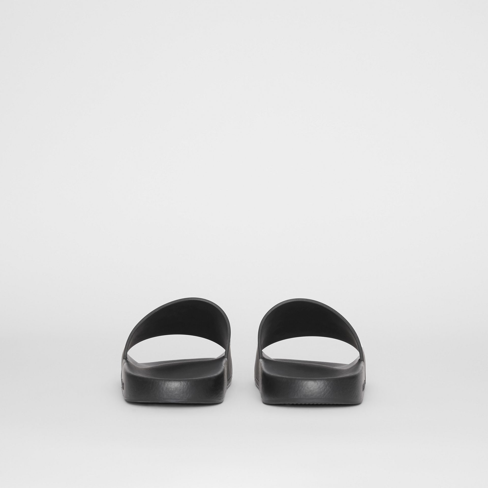 Kingdom Motif Slides in Black/optic White - Men | Burberry - gallery image 4