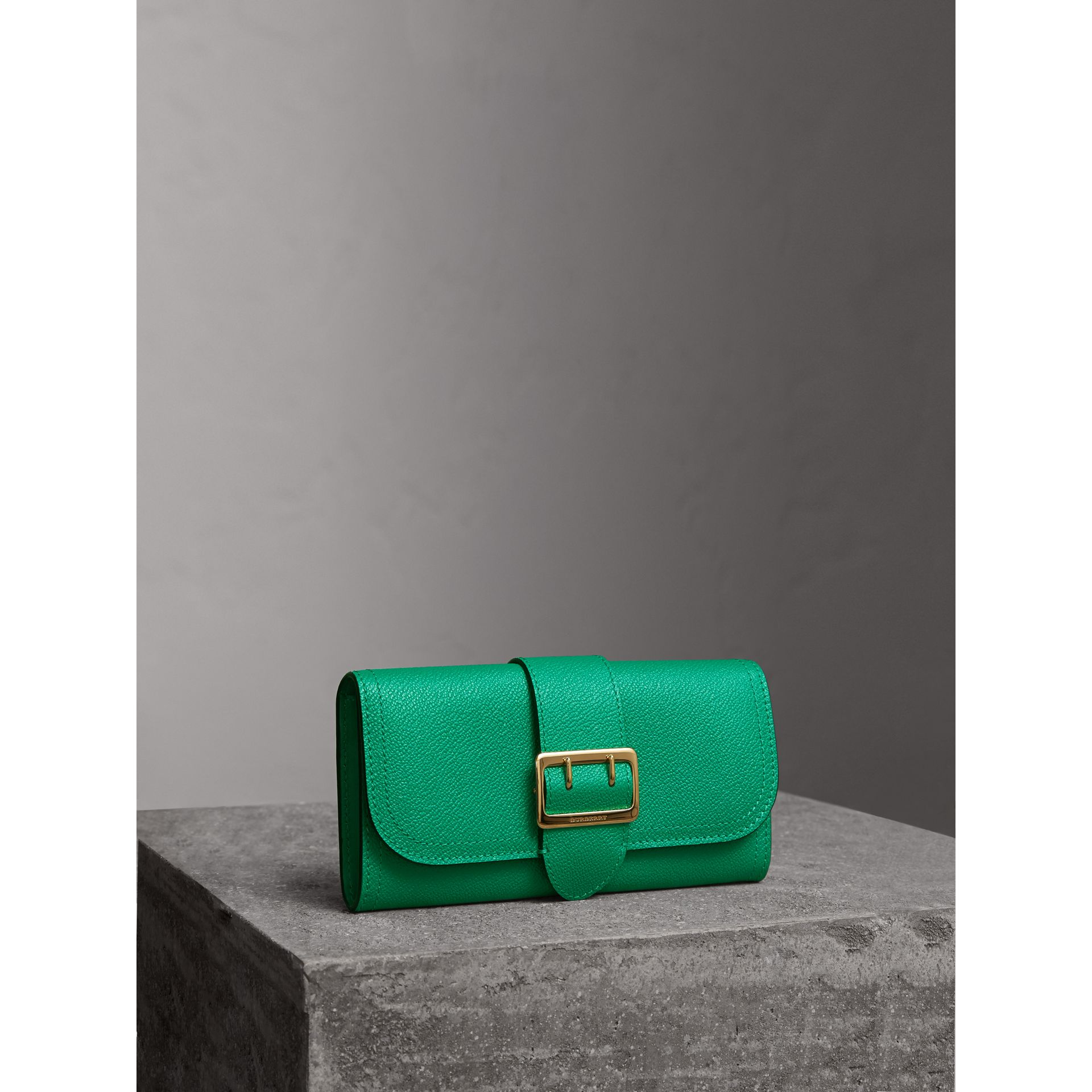 Textured Leather Continental Wallet in Bright Pigment Green - Women | Burberry - gallery image 1
