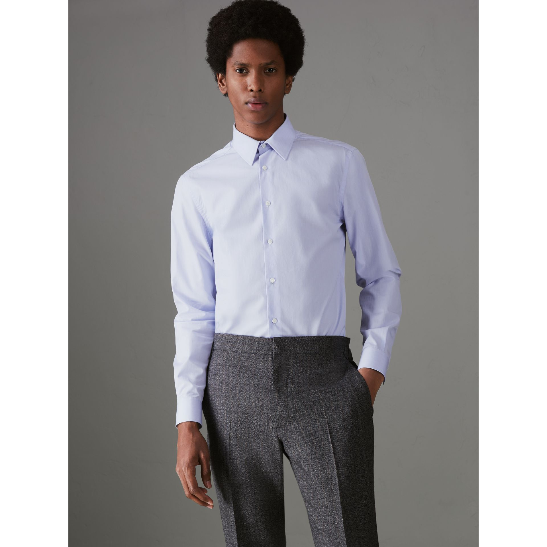Slim Fit Cotton Poplin Shirt in City Blue - Men | Burberry United Kingdom - gallery image 4