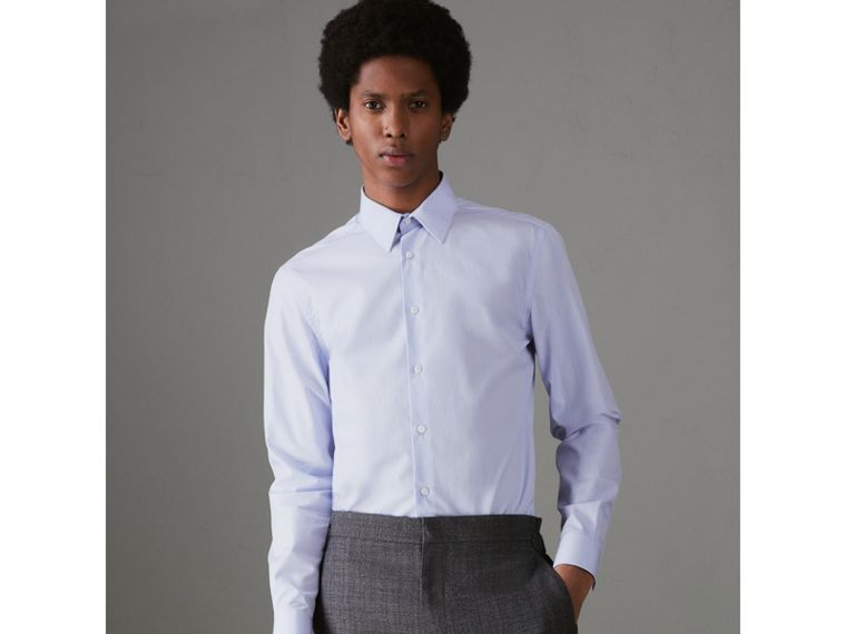 Slim Fit Cotton Poplin Shirt in City Blue - Men | Burberry United Kingdom - cell image 4
