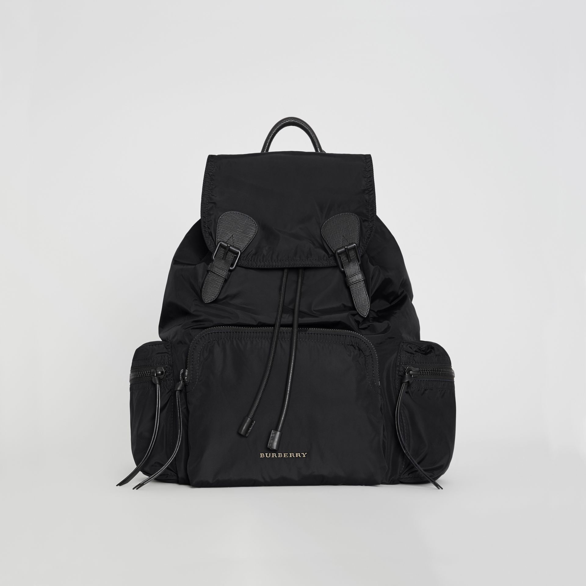 The Large Rucksack in Technical Nylon and Leather in Black - Men | Burberry Singapore - gallery image 0