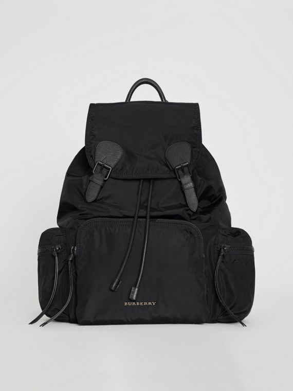 Zaino The Rucksack grande in nylon tecnico e pelle (Nero)