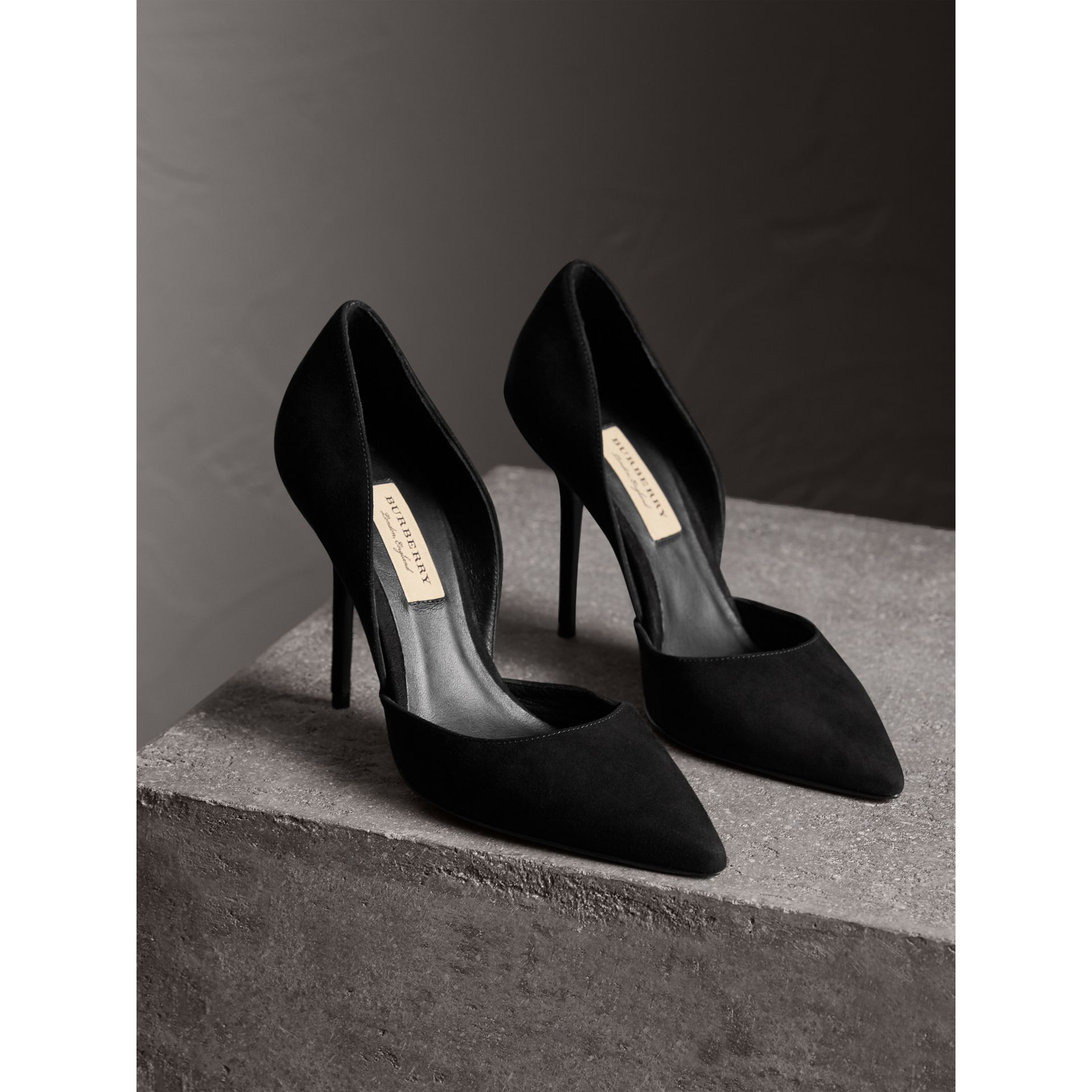 Point-toe Suede D'Orsay Pumps in Black - Women | Burberry - gallery image 5