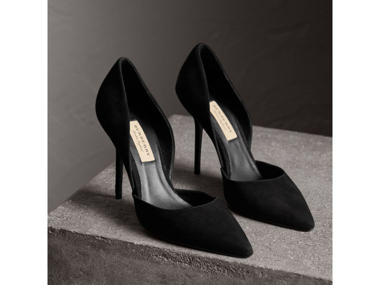 Point-toe Suede D'Orsay Pumps in Black - Women | Burberry United Kingdom - cell image 4