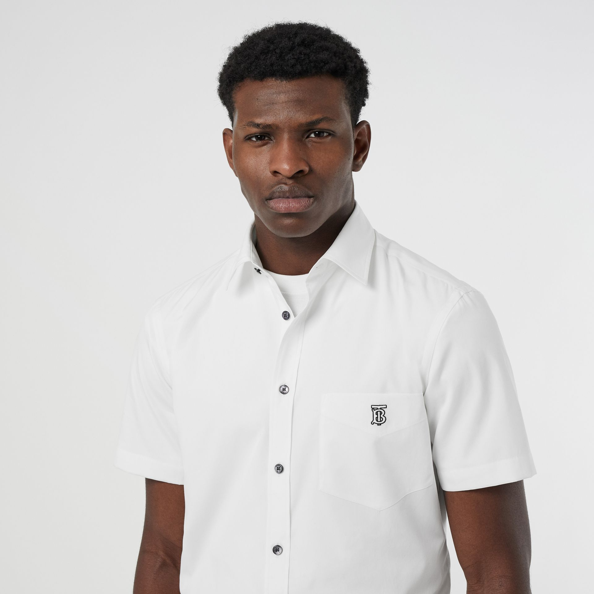 Short-sleeve Monogram Motif Stretch Cotton Shirt in White - Men | Burberry - gallery image 1
