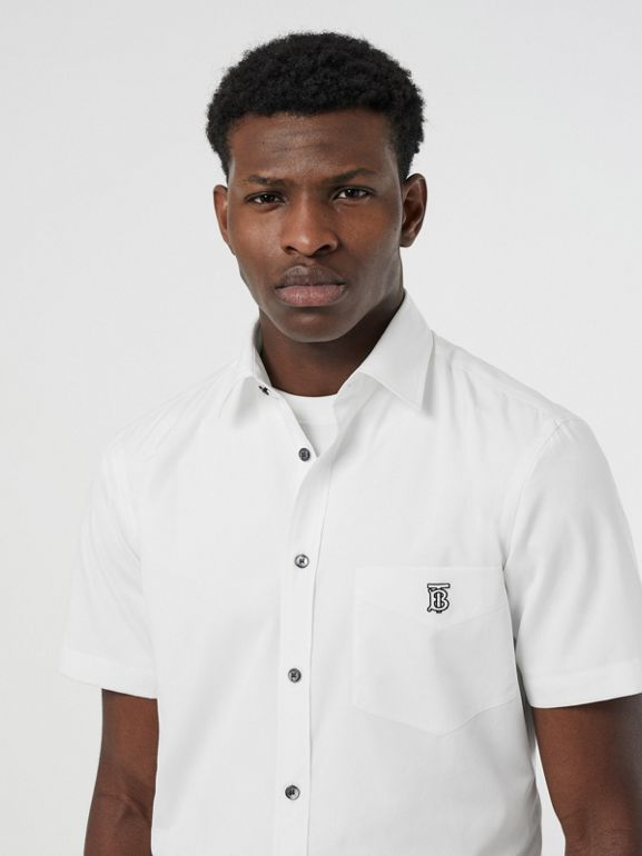 Short-sleeve Monogram Motif Stretch Cotton Shirt in White - Men | Burberry - cell image 1