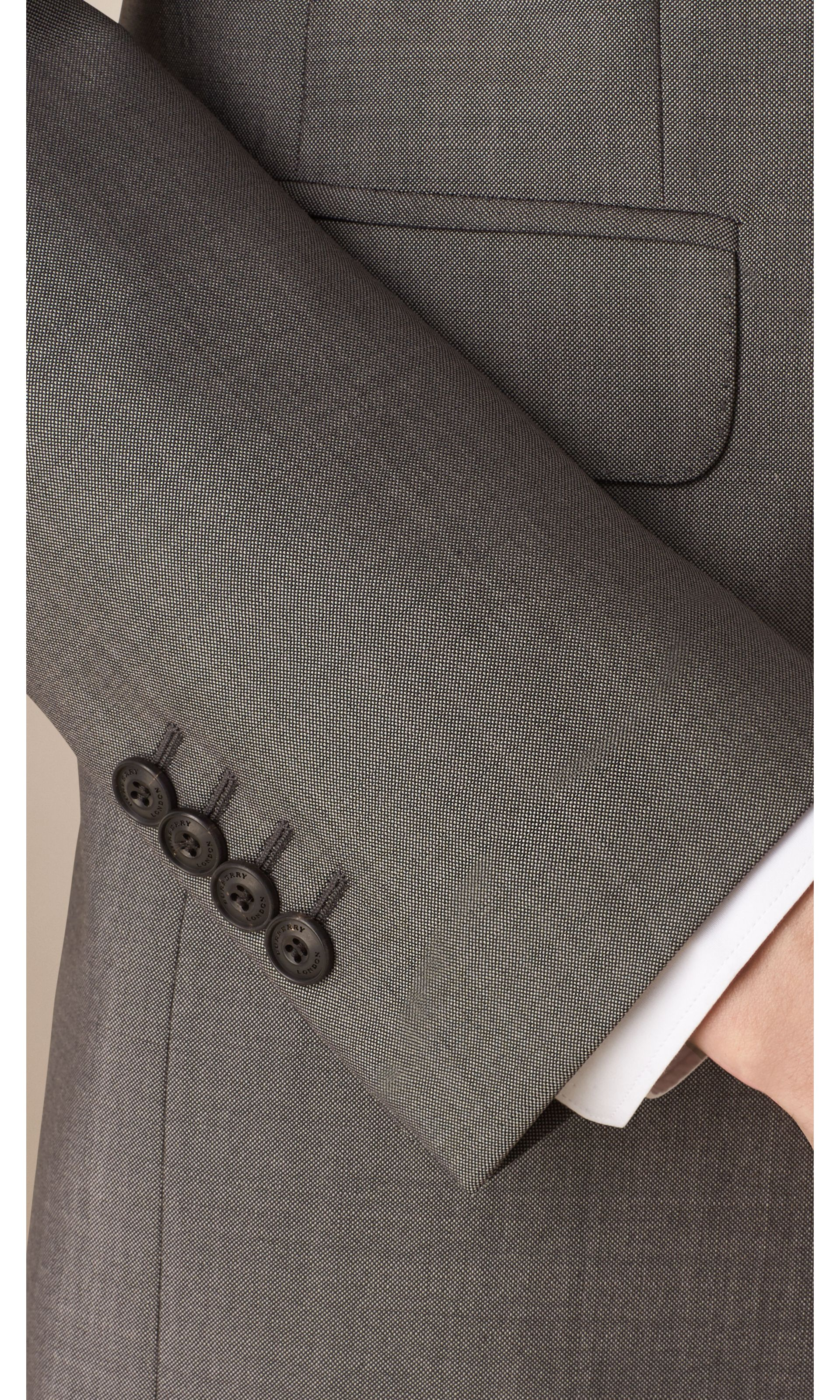 Mid grey Slim Fit Wool Mohair Part-canvas Suit - gallery image 4