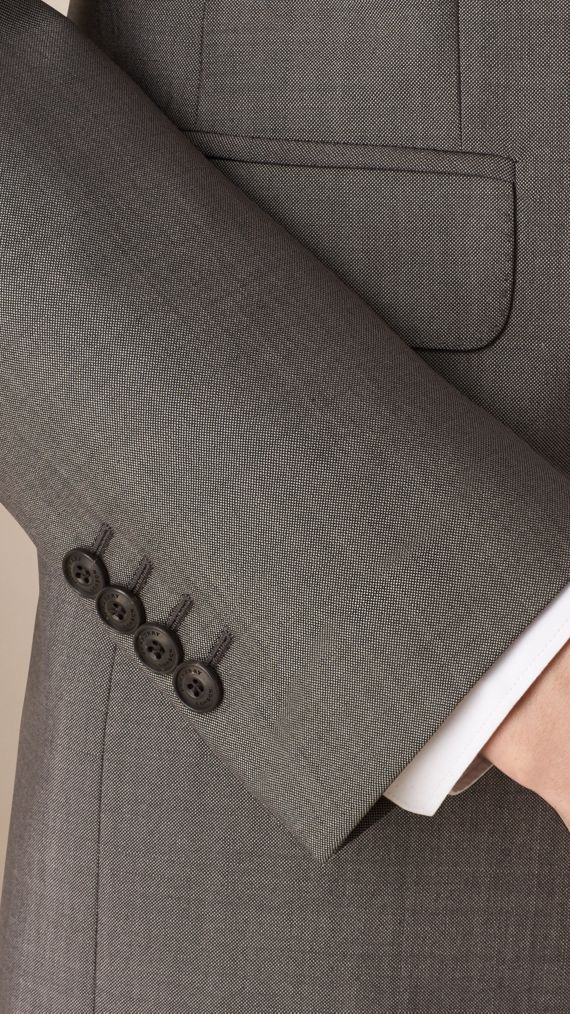 Mid grey Slim Fit Wool Mohair Part-canvas Suit - cell image 3