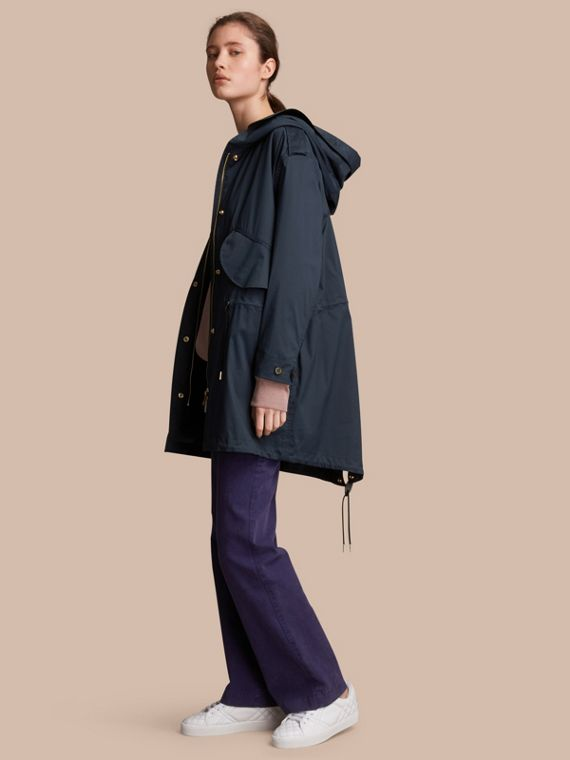 Hooded Water-resistant Parka in Navy - Women | Burberry Australia