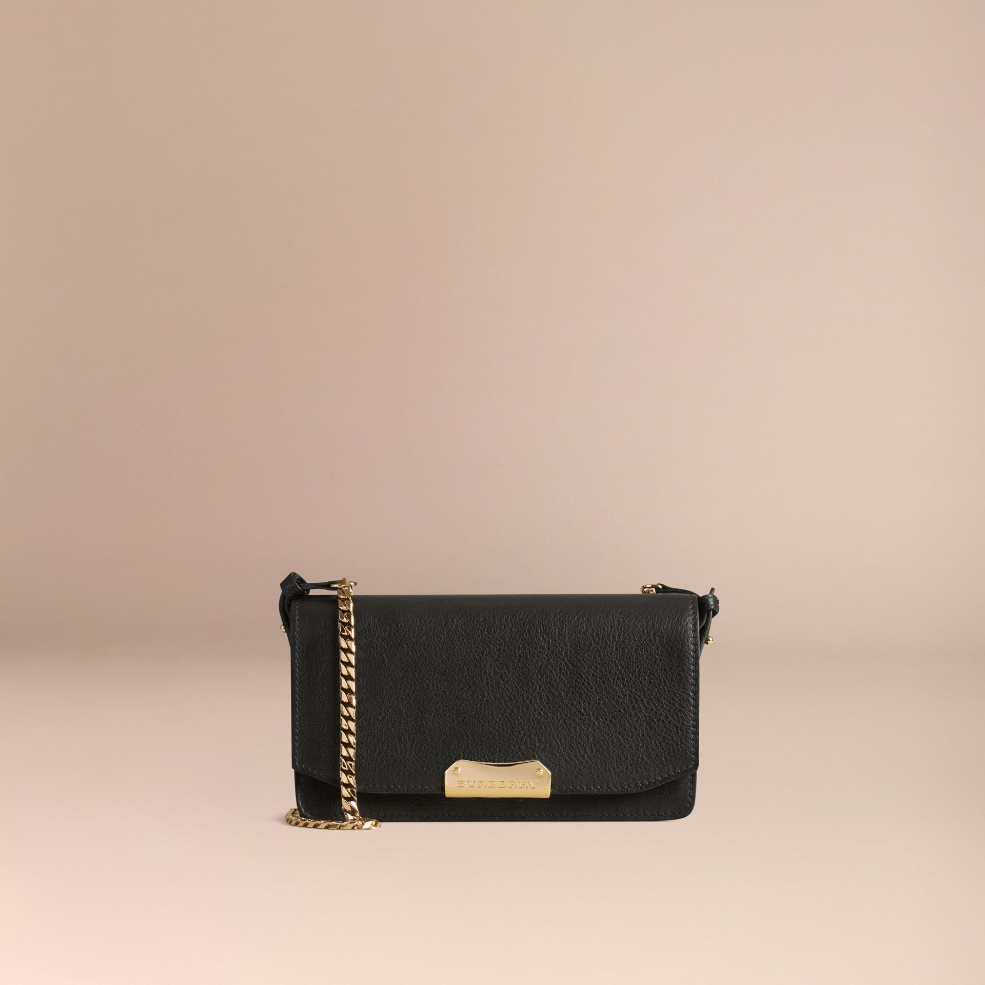 Black Leather Clutch Bag with Chain - gallery image 6