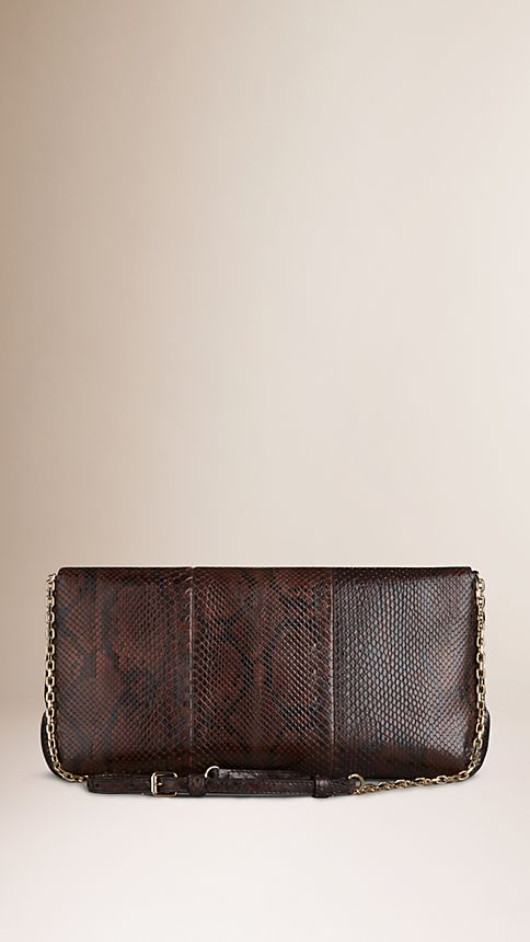 Bitter chocolate Medium Python Clutch Bag - Image 3