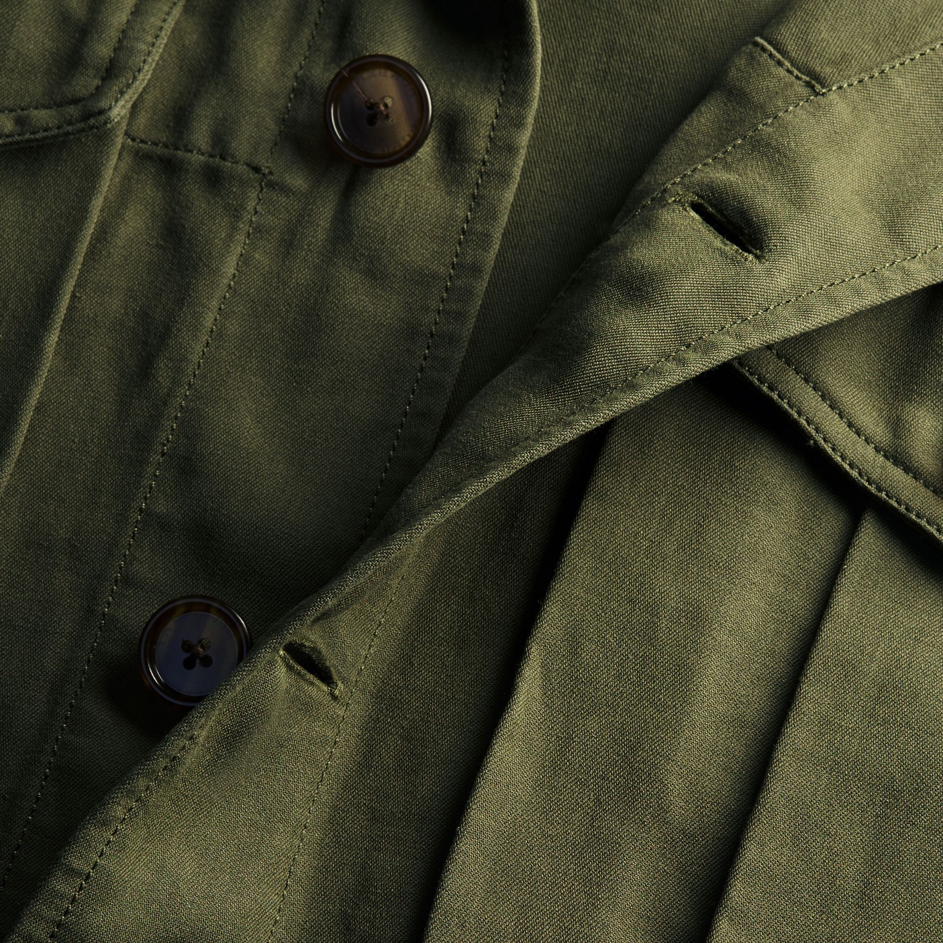 Military green Short-sleeved Ramie Cotton Military Shirt - gallery image 2