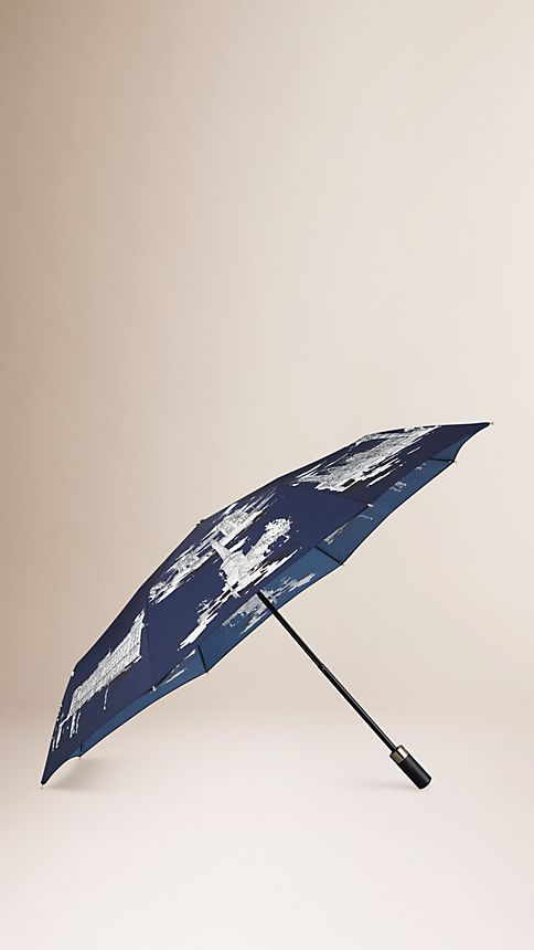 Brilliant navy London Landmarks Folding Umbrella - Image 1