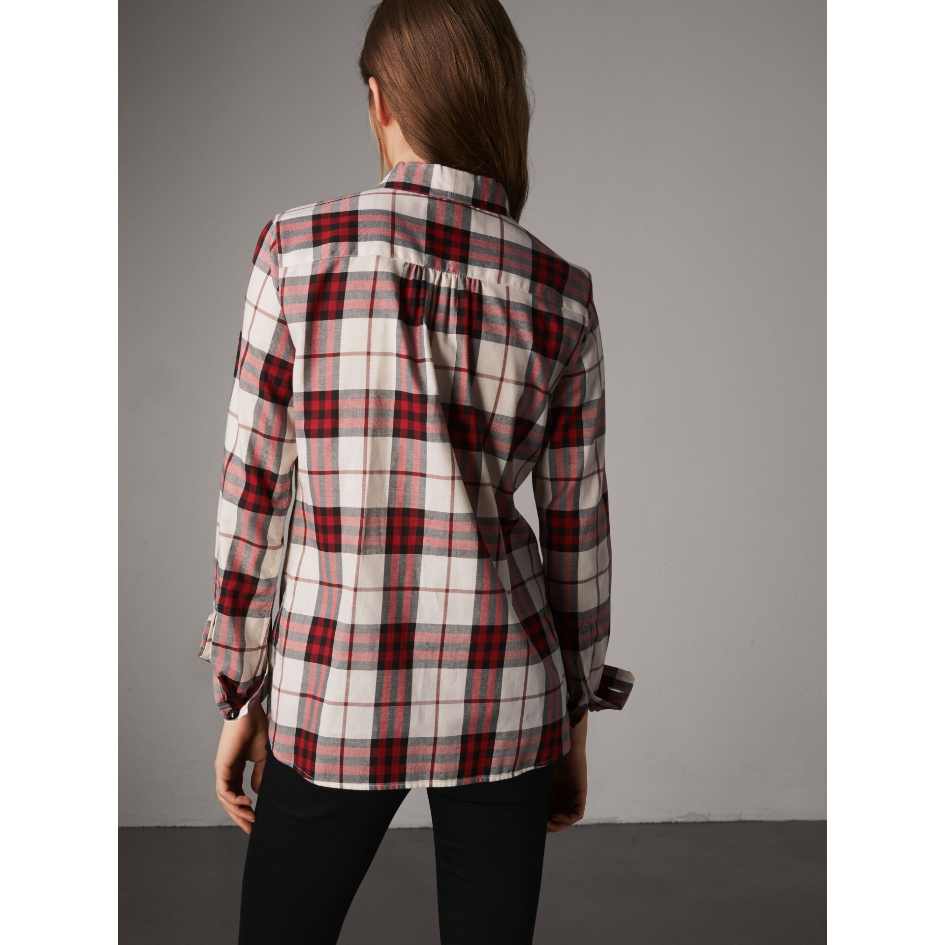 Pussy-bow Check Flannel Shirt in Crimson Red - Women | Burberry - gallery image 2