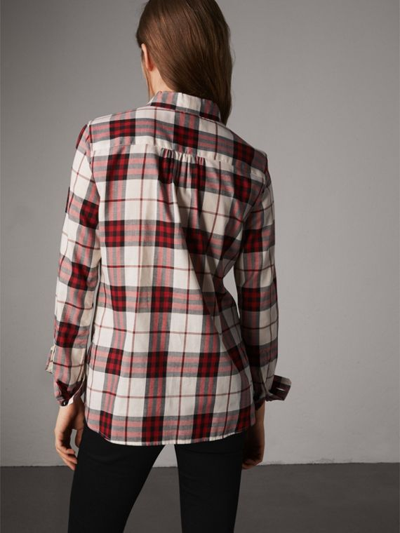 Pussy-bow Check Flannel Shirt in Crimson Red - Women | Burberry Singapore - cell image 2