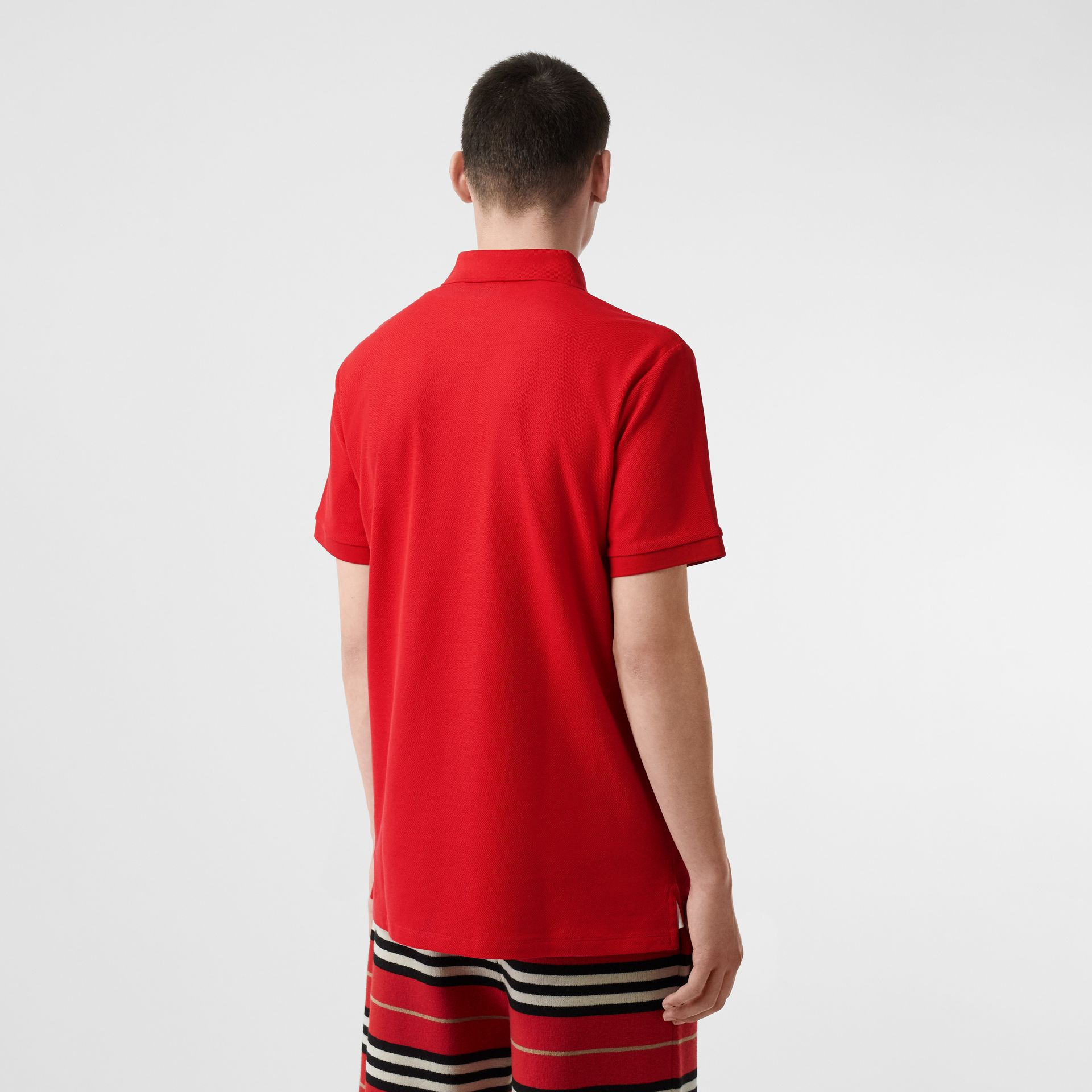 Monogram Motif Cotton Piqué Polo Shirt in Bright Red - Men | Burberry - gallery image 2