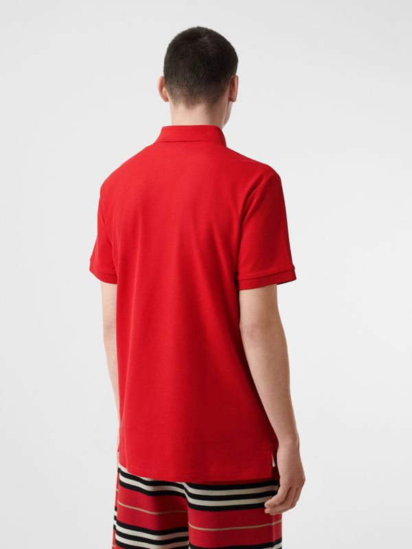 Monogram Motif Cotton Piqué Oversized Polo Shirt in Bright Red - Men | Burberry United States - cell image 2
